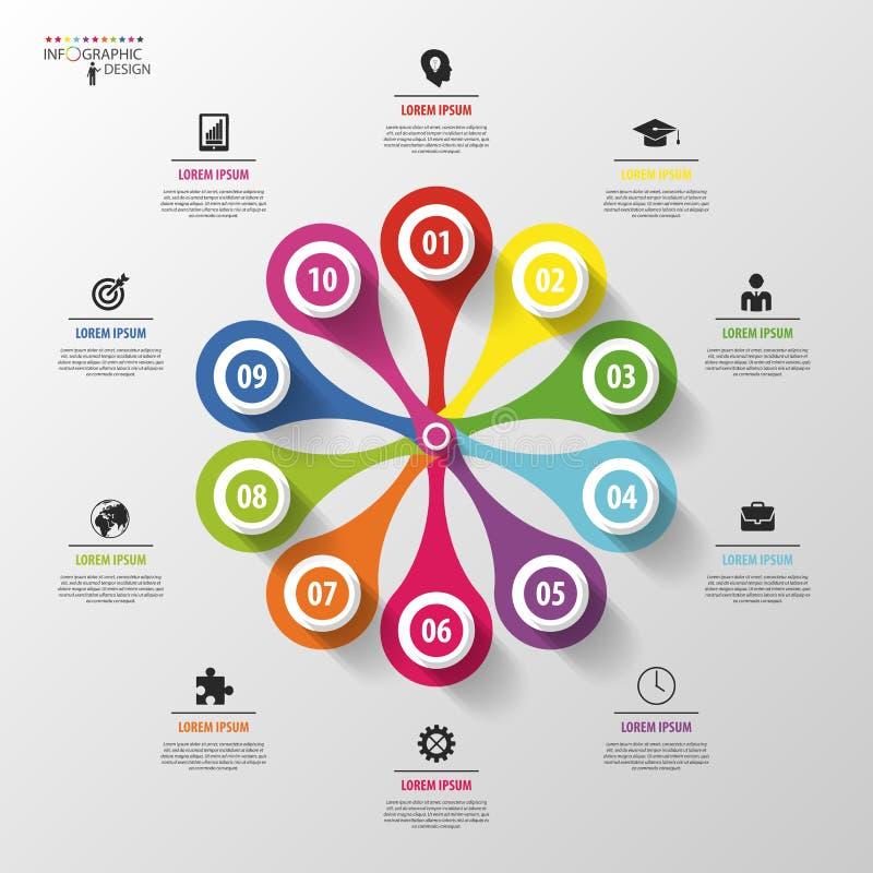 Disegno moderno fiore del cerchio di vettore infographic - Modello di base del fiore ...