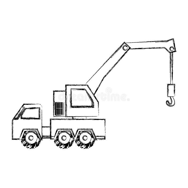 disegno monocromatico della mano di contorno del trasporto del veicolo del camion di rimorchio illustrazione di stock