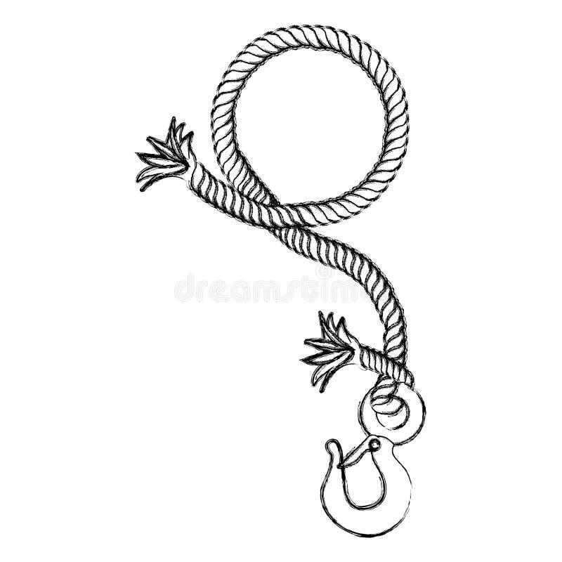 disegno monocromatico della mano di contorno della corda nautica della rottura con il gancio del metallo illustrazione vettoriale