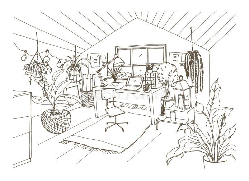 Disegno monocromatico della stanza accogliente del gabinetto, della mansarda o della soffitta ammobiliata nello stile scandinavo  royalty illustrazione gratis