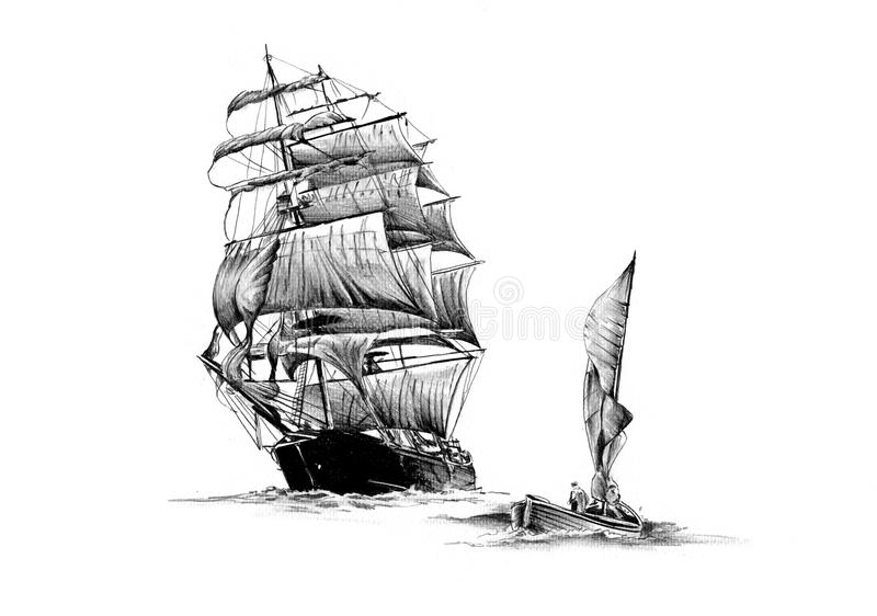 Disegno motore del mare antico della barca fatto a mano fotografie stock