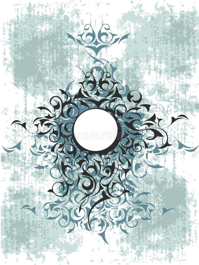 Disegno ornamentale blu del grunge illustrazione di stock