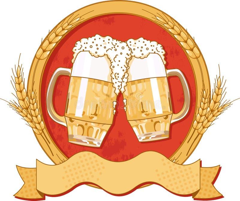 Disegno ovale del contrassegno della birra illustrazione di stock