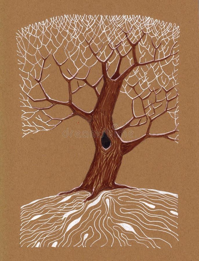 Disegno a penna del gel dell'albero di inverno royalty illustrazione gratis