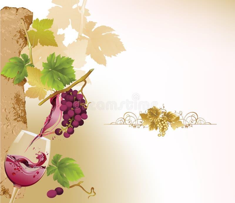 Disegno per la lista di vino. illustrazione vettoriale