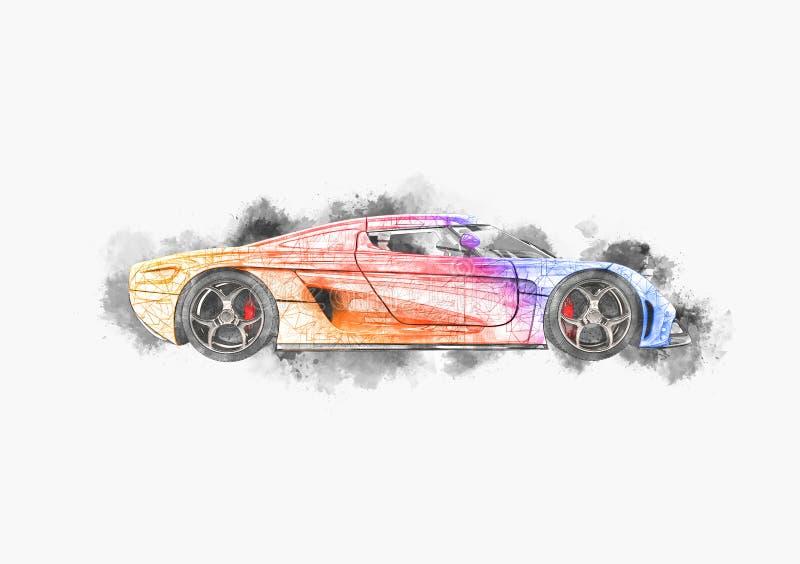 Disegno poligonale automobilistico eccellente di concetto illustrazione vettoriale