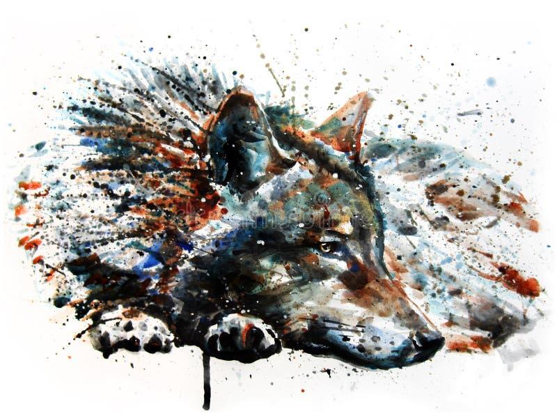 Disegno predatore della pittura dell'acquerello del lupo illustrazione vettoriale