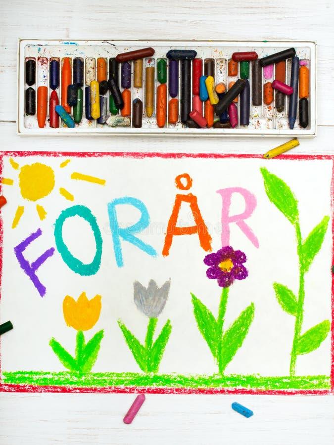 Disegno: Primavera di Forår di parole del Danese e bello fiore immagini stock libere da diritti