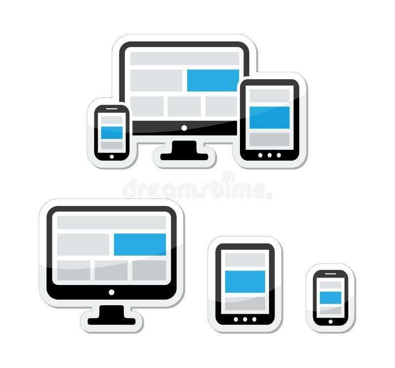 Disegno rispondente per il Web - schermo di computer, smartphone, insieme di contrassegni della compressa royalty illustrazione gratis