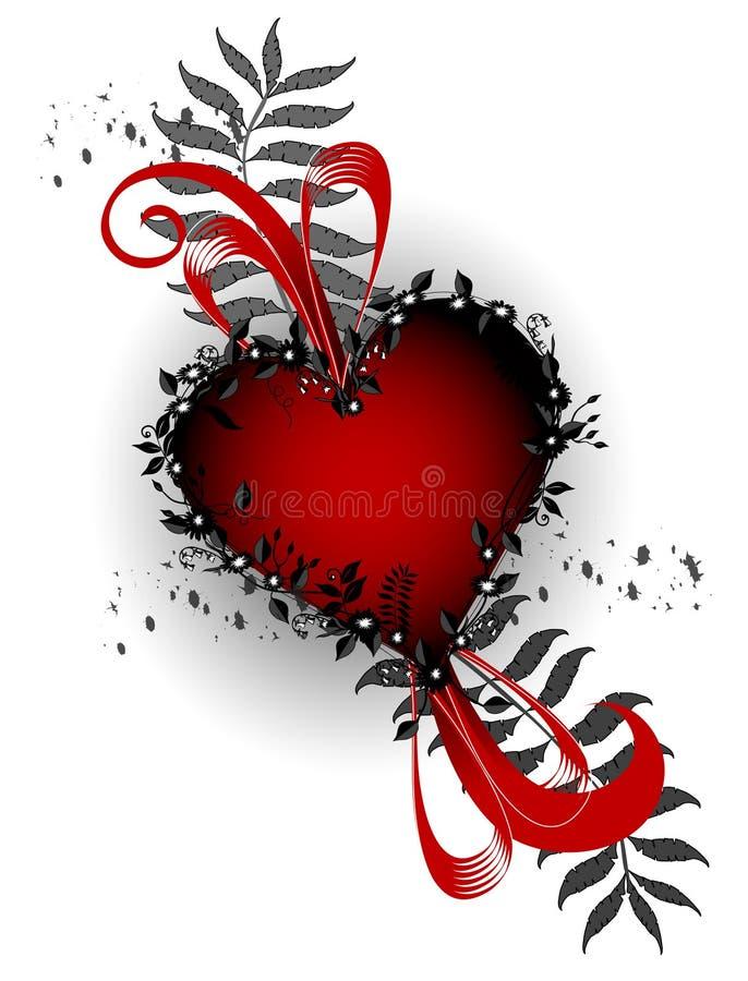 Disegno rosso del cuore illustrazione di stock