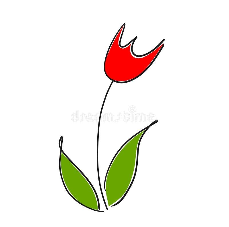 Disegno rosso del tulipano royalty illustrazione gratis