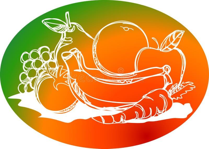 Disegno sano del colpo della spazzola del mucchio di frutti illustrazione vettoriale