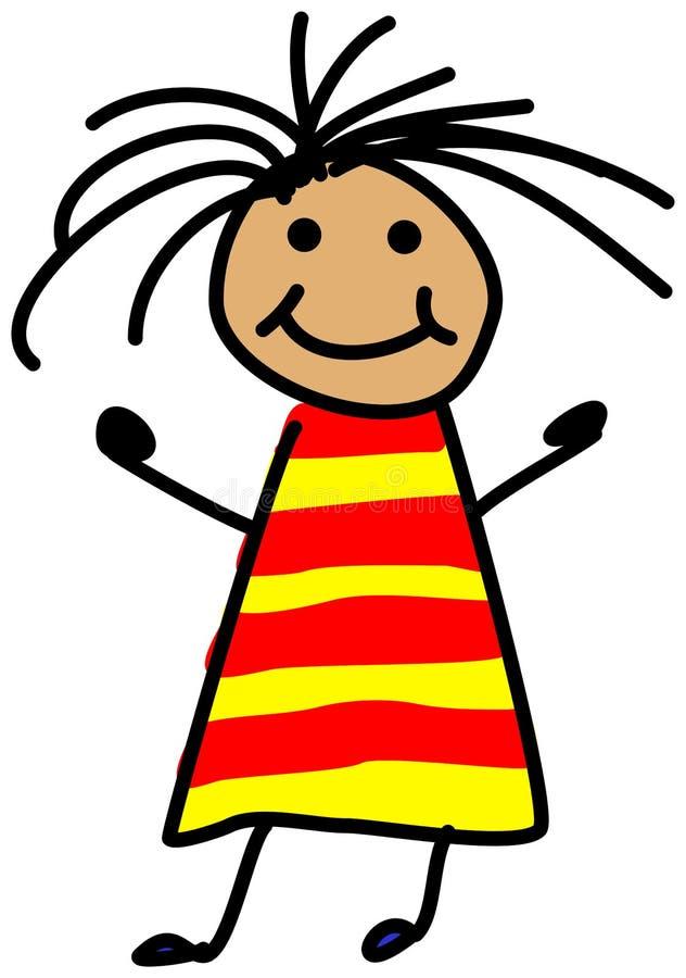 Disegno semplice dell'illustrazione di stickman del bambino della ragazza con selvaggio royalty illustrazione gratis