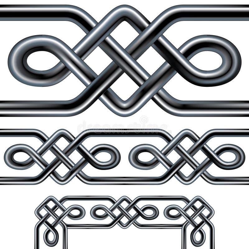 Disegno senza giunte del bordo della corda celtica con ele d'angolo royalty illustrazione gratis