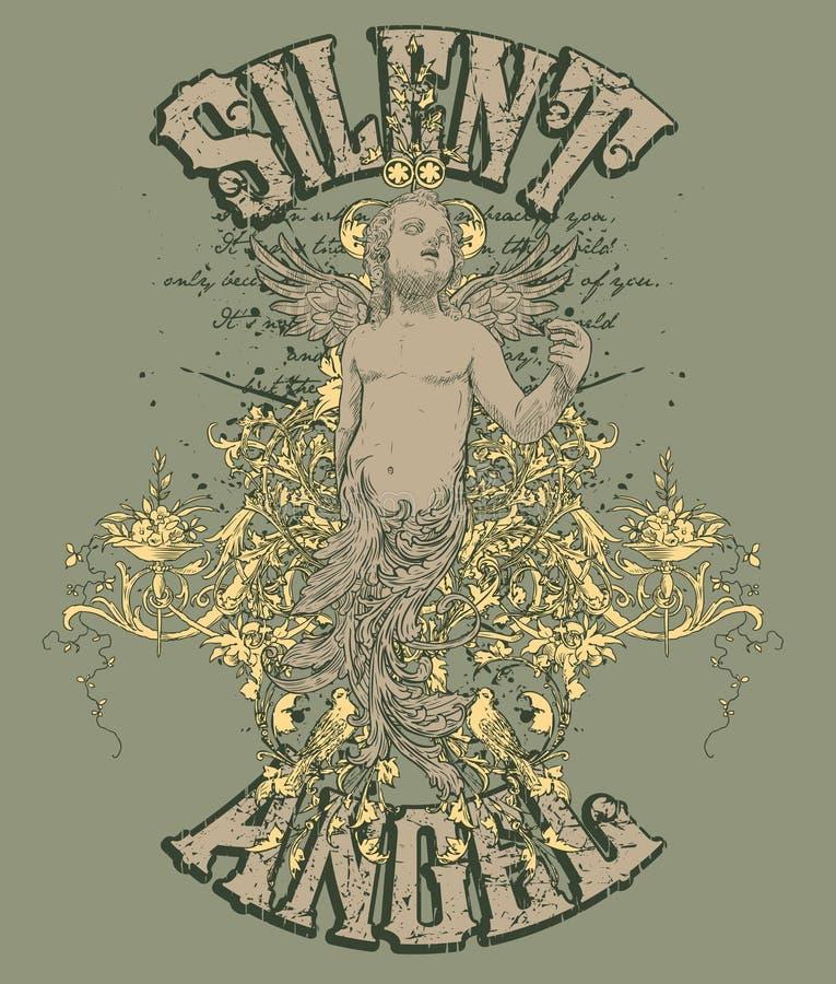 Disegno silenzioso di angelo   illustrazione vettoriale