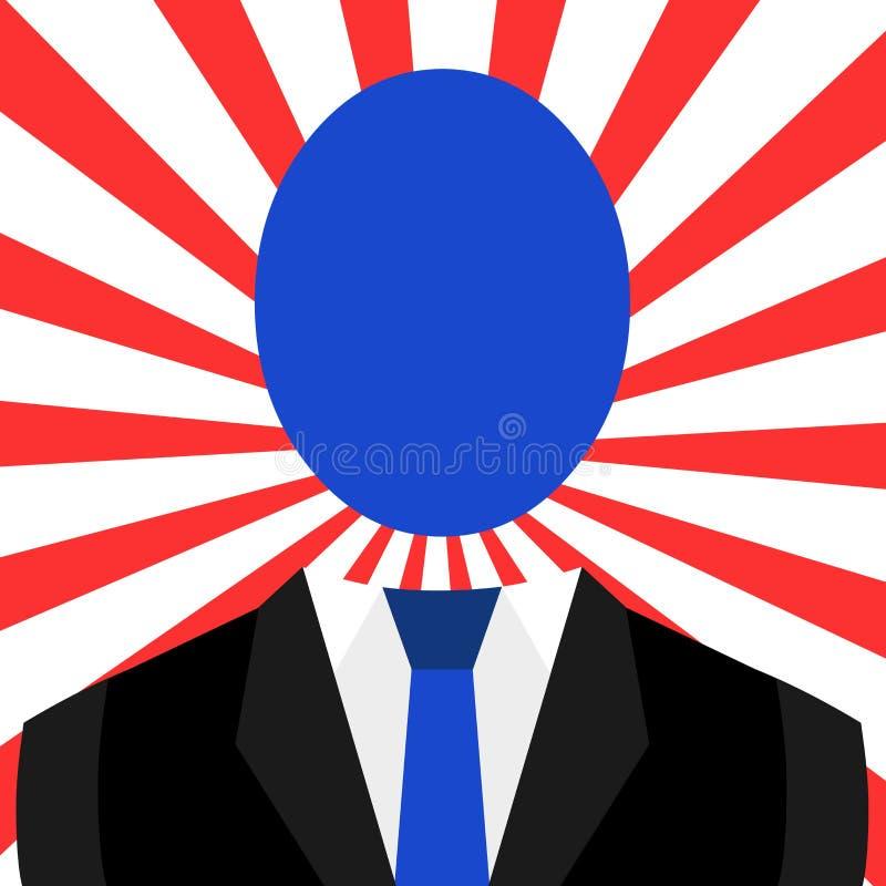Disegno simbolico dell'uomo in vestito e del legame con la grande testa anonima ovale Figura maschio emblematica in vestiti conve illustrazione vettoriale