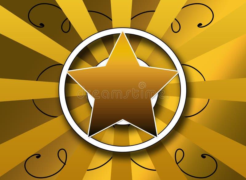 Disegno stampato in neretto della priorità bassa dello sprazzo di sole e della stella illustrazione di stock