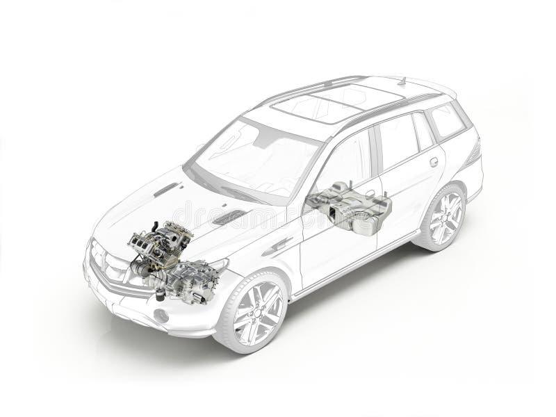 Disegno tagliato di Suv che mostra motore e serbatoio di combustibile illustrazione di stock