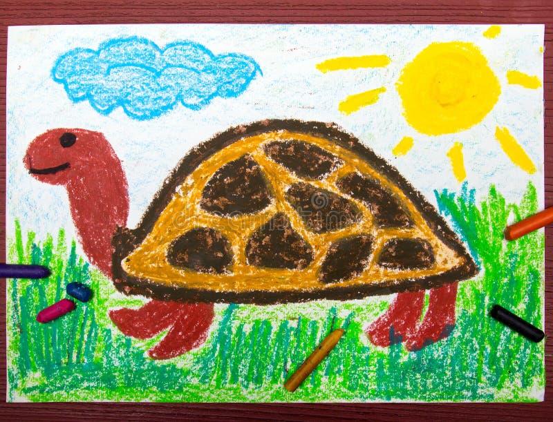 Disegno: tartaruga felice sull'erba royalty illustrazione gratis