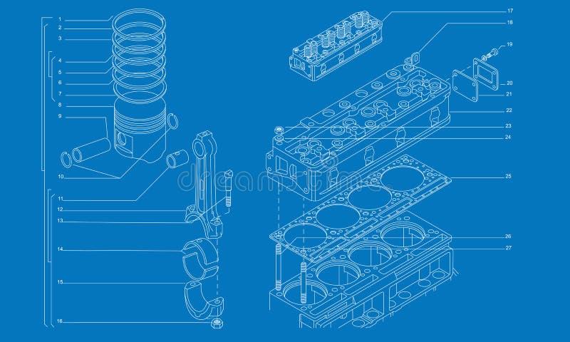 Disegno tecnico del macchinario complicato illustrazione vettoriale