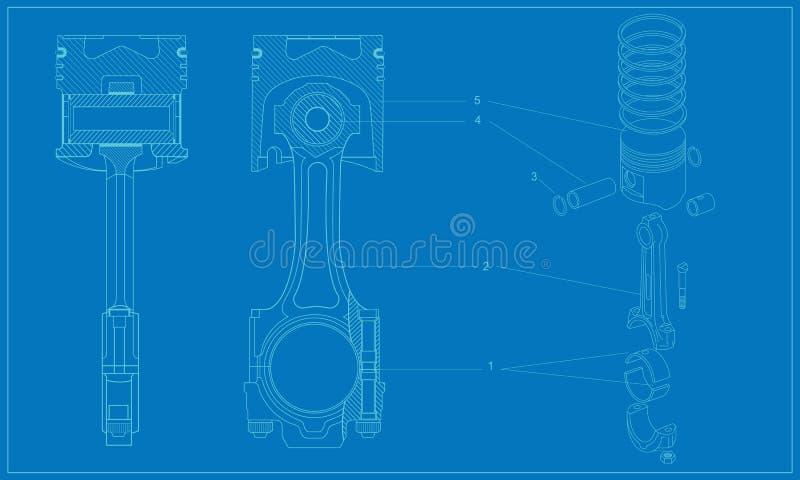 Disegno tecnico del pistone del macchinario complicato illustrazione di stock