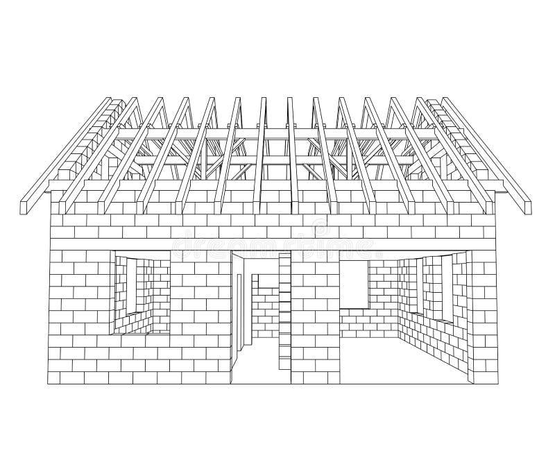Disegno a tratteggio anteriore della costruzione della for Disegno della casa di architettura