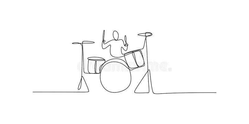 disegno a tratteggio continuo degli uomini che giocano gli strumenti musicali del tamburo illustrazione vettoriale