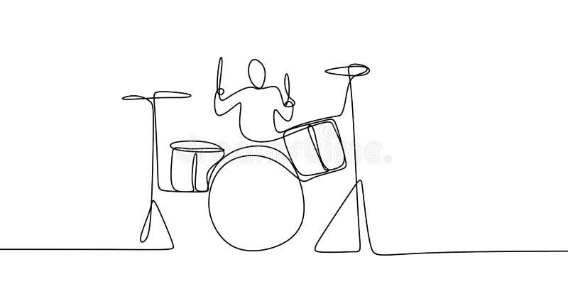 disegno a tratteggio continuo degli uomini che giocano gli strumenti musicali del tamburo royalty illustrazione gratis