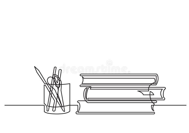 Disegno a tratteggio continuo dei libri e delle matite royalty illustrazione gratis