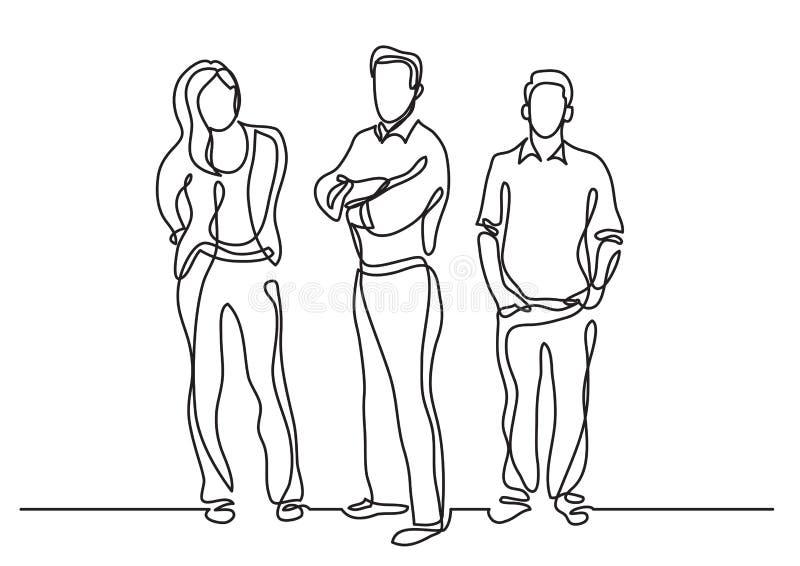 Disegno a tratteggio continuo dei membri del team stanti illustrazione vettoriale