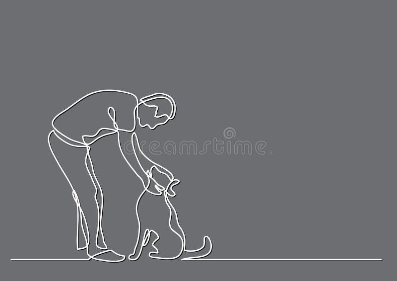 Disegno a tratteggio continuo del cane di coccole dell'uomo royalty illustrazione gratis