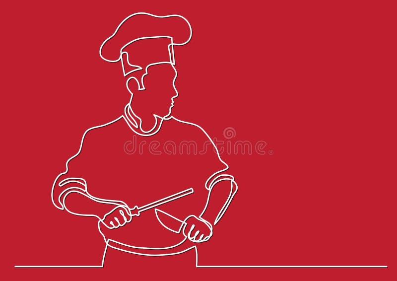 Disegno a tratteggio continuo del cuoco unico che affila coltello illustrazione di stock