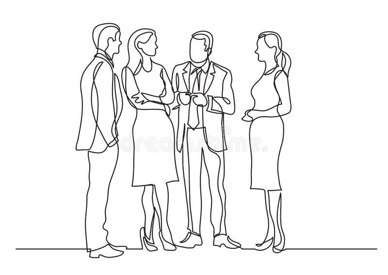 Disegno a tratteggio continuo del gruppo di professionisti di affari che stanno discussione illustrazione vettoriale