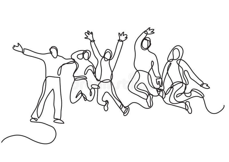 Disegno a tratteggio continuo del gruppo di salto della gente illustrazione di stock