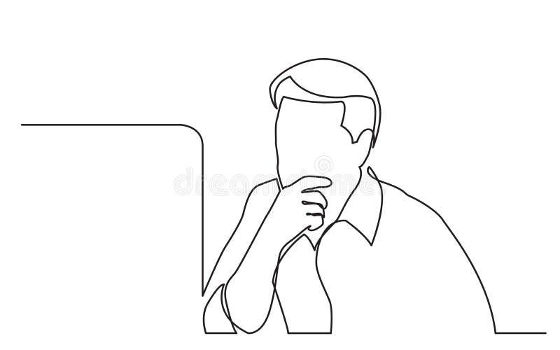 Disegno a tratteggio continuo del lavoratore del computer messo a fuoco su lavoro illustrazione vettoriale
