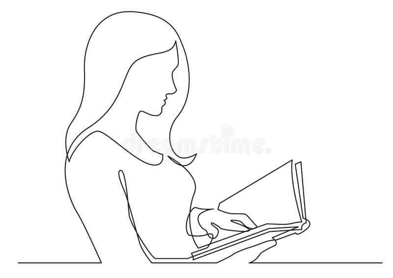 Disegno a tratteggio continuo del libro di lettura della donna illustrazione di stock