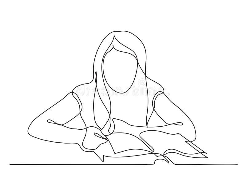 Disegno a tratteggio continuo del libro di lettura della ragazza illustrazione di stock