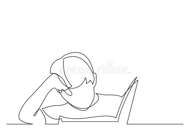 Disegno a tratteggio continuo del libro di lettura del ragazzo royalty illustrazione gratis