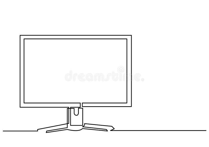 Disegno a tratteggio continuo del monitor del computer illustrazione vettoriale