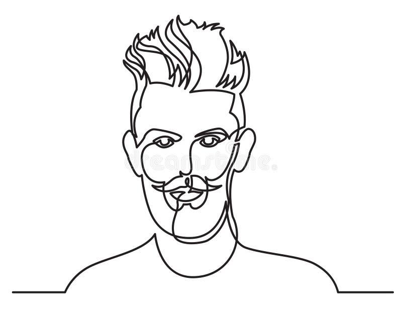 Disegno a tratteggio continuo del ritratto barbuto dell'uomo su fondo bianco illustrazione di stock