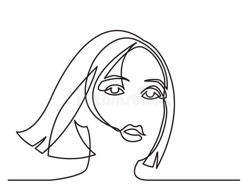 Disegno a tratteggio continuo del ritratto romantico della donna su fondo bianco illustrazione vettoriale