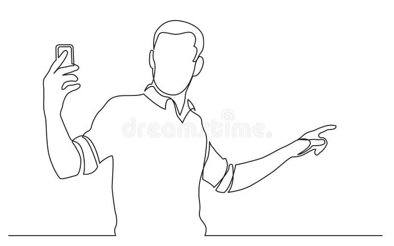 Disegno a tratteggio continuo del video stante della fucilazione dell'uomo sul suo telefono cellulare illustrazione vettoriale
