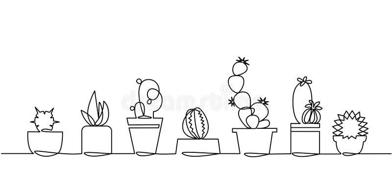 Disegno a tratteggio continuo dell'insieme di vettore delle piante in bianco e nero della Camera di schizzo del cactus sveglio is illustrazione vettoriale
