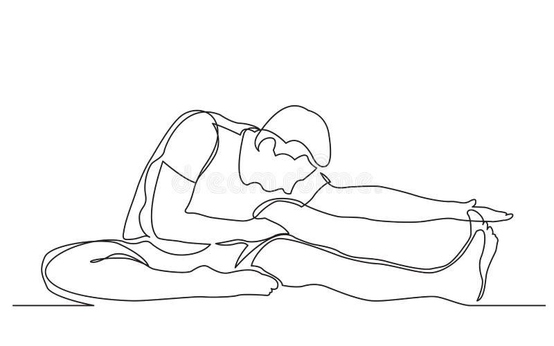 Disegno a tratteggio continuo dell'uomo che allunga la sua gamba nell'esercizio di yoga illustrazione vettoriale