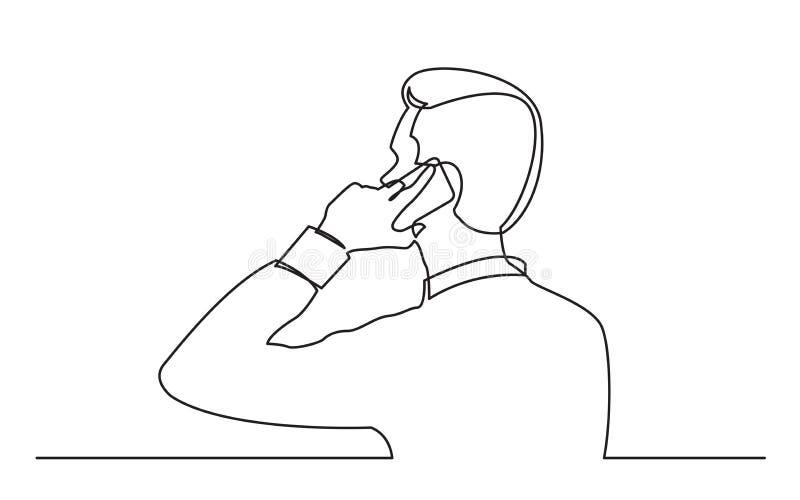 Disegno a tratteggio continuo dell'uomo che parla sul pnone mobile illustrazione di stock
