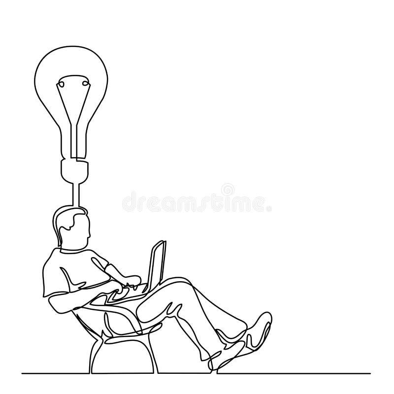 Disegno a tratteggio continuo dell'uomo che si siede che lavora al calcolo del computer portatile illustrazione di stock