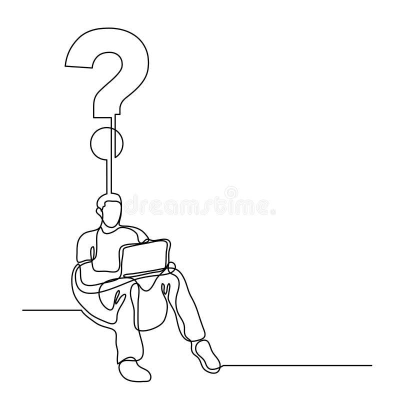 Disegno a tratteggio continuo dell'uomo che si siede con la creatina del computer portatile illustrazione vettoriale