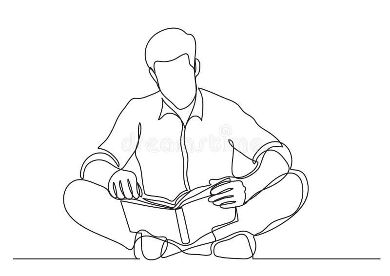 Disegno a tratteggio continuo dell'uomo che si siede sul libro di lettura del pavimento illustrazione di stock