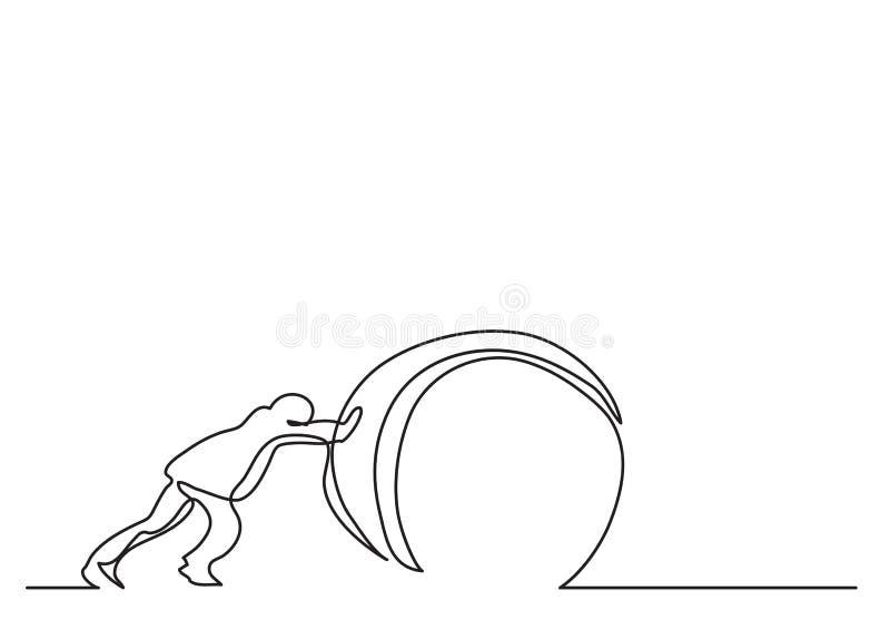 Disegno a tratteggio continuo dell'uomo che spinge peso illustrazione vettoriale