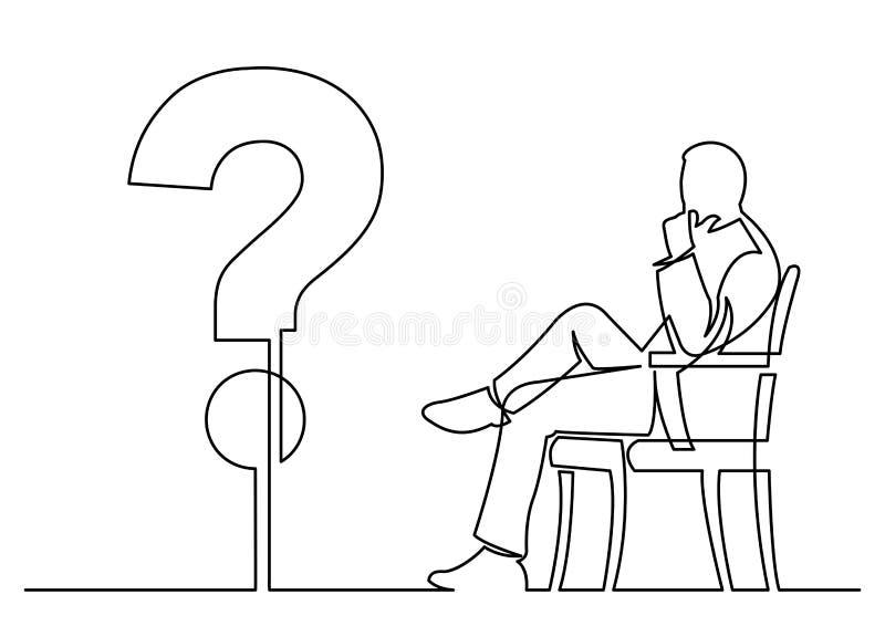 Disegno a tratteggio continuo dell'uomo d'affari che si siede che pensa circa a illustrazione vettoriale
